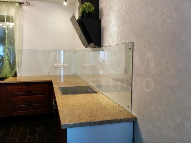 Прозрачный фартук из закаленного стекла 6 мм + обои Vitrum Studio Прозрачные скинали в Иркутске Дзержинск